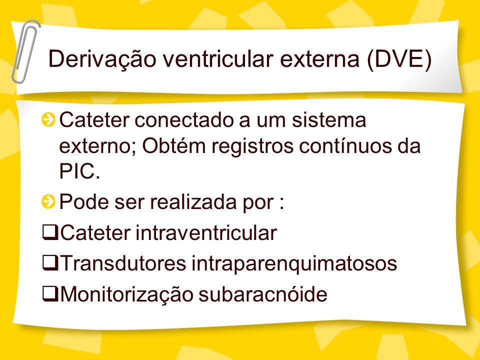 Cateter conectado a um sistema externo; Obtém registros contínuos da PIC. Pode ser realizada por : Cateter intraventricular Transdutores intraparenqui