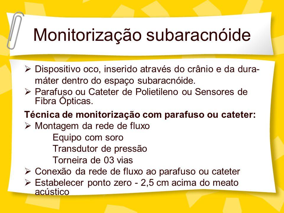 Monitorização subaracnóide Dispositivo oco, inserido através do crânio e da dura- máter dentro do espaço subaracnóide. Parafuso ou Cateter de Polietil