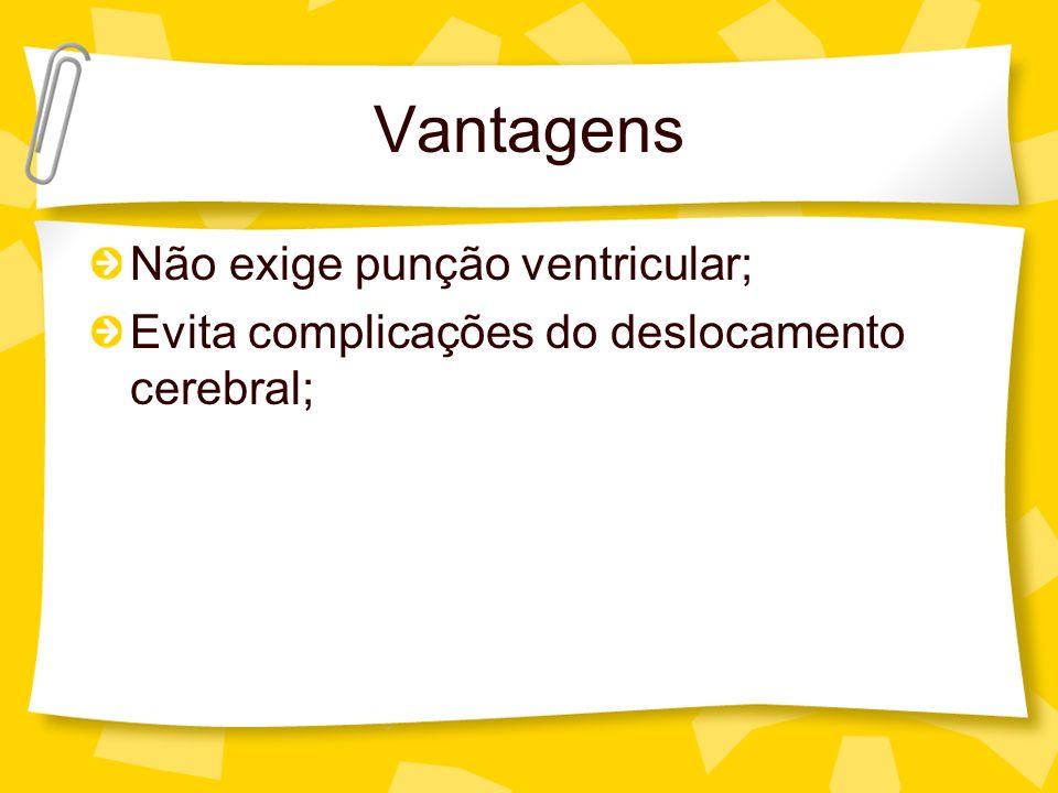 Vantagens Não exige punção ventricular; Evita complicações do deslocamento cerebral;