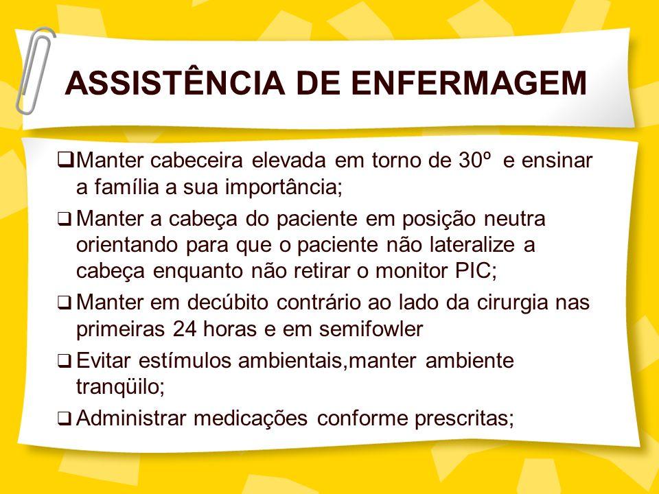 ASSISTÊNCIA DE ENFERMAGEM Manter cabeceira elevada em torno de 30º e ensinar a família a sua importância; Manter a cabeça do paciente em posição neutr