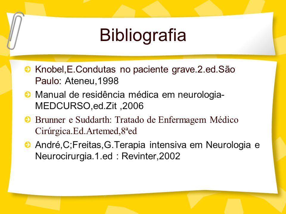 Bibliografia Knobel,E.Condutas no paciente grave.2.ed.São Paulo: Ateneu,1998 Manual de residência médica em neurologia- MEDCURSO,ed.Zit,2006 Brunner e