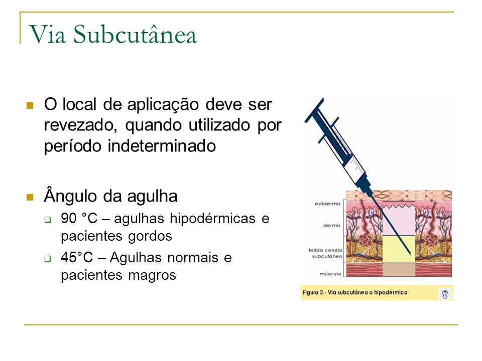 Via Subcutânea O local de aplicação deve ser revezado, quando utilizado por período indeterminado Ângulo da agulha 90 °C – agulhas hipodérmicas e paci