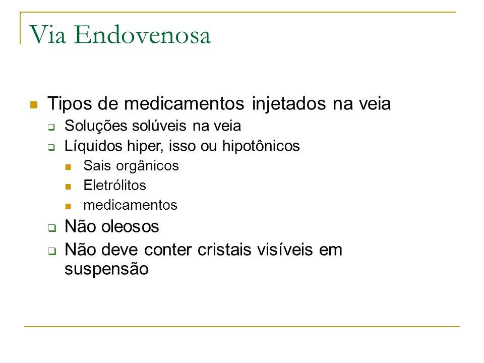 Via Endovenosa Tipos de medicamentos injetados na veia Soluções solúveis na veia Líquidos hiper, isso ou hipotônicos Sais orgânicos Eletrólitos medica