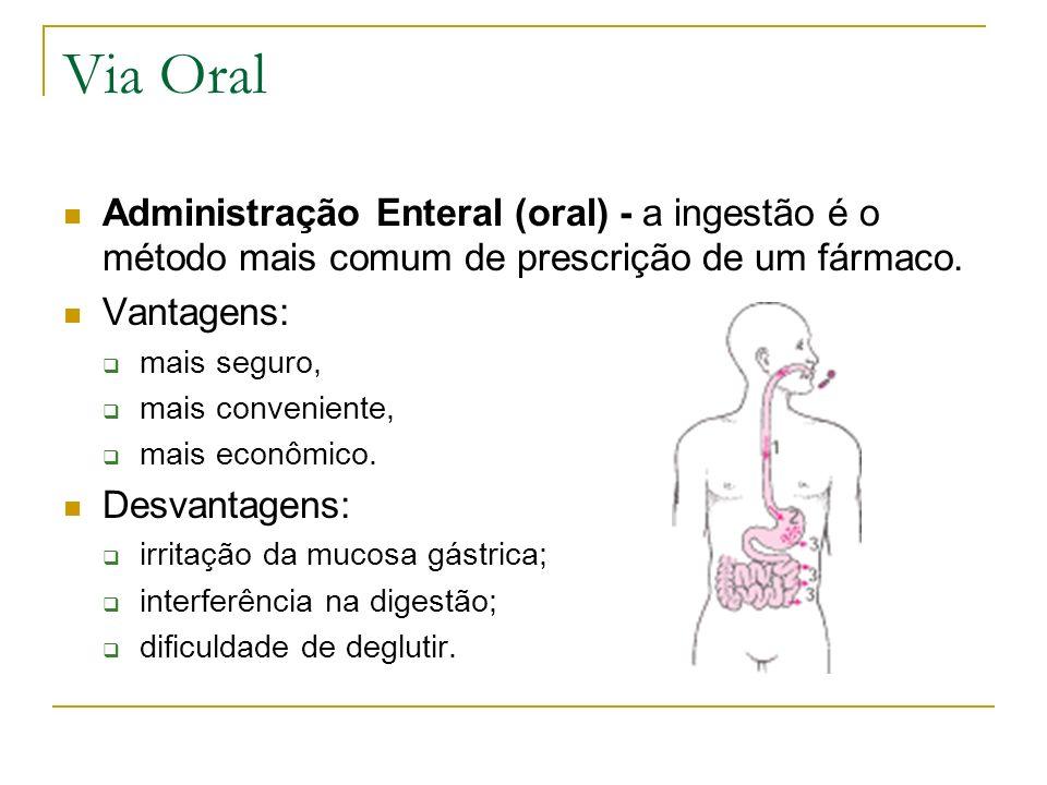 Via Oral Administração Enteral (oral) - a ingestão é o método mais comum de prescrição de um fármaco. Vantagens: mais seguro, mais conveniente, mais e
