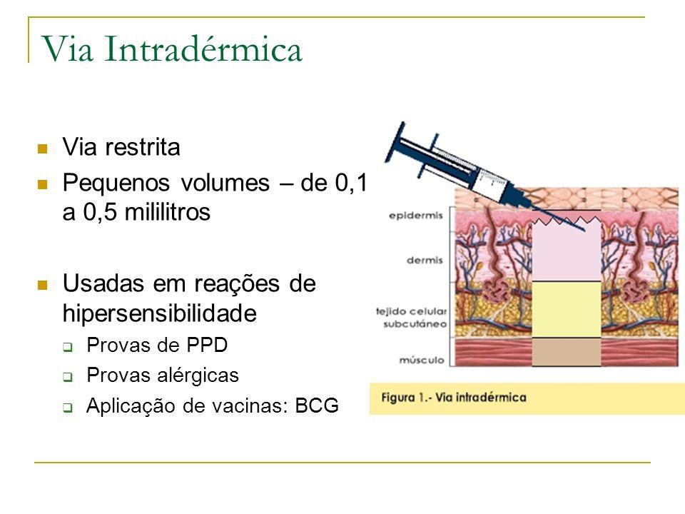 Via Intradérmica Via restrita Pequenos volumes – de 0,1 a 0,5 mililitros Usadas em reações de hipersensibilidade Provas de PPD Provas alérgicas Aplica