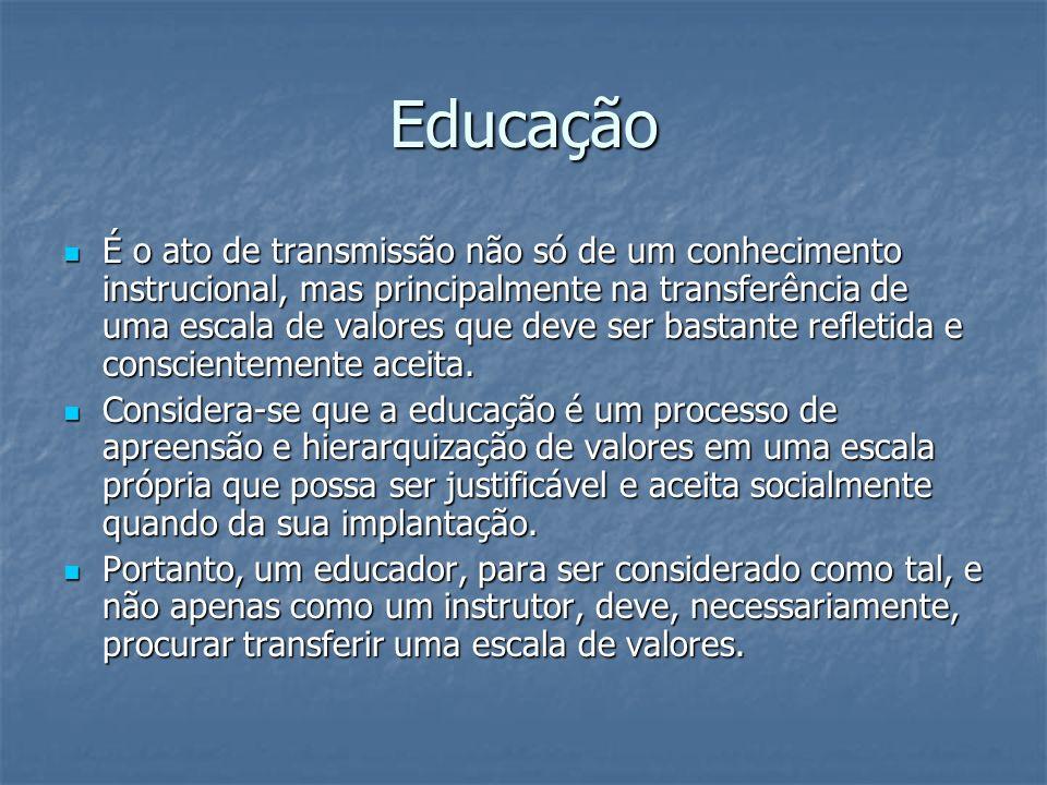 Educação É o ato de transmissão não só de um conhecimento instrucional, mas principalmente na transferência de uma escala de valores que deve ser bast