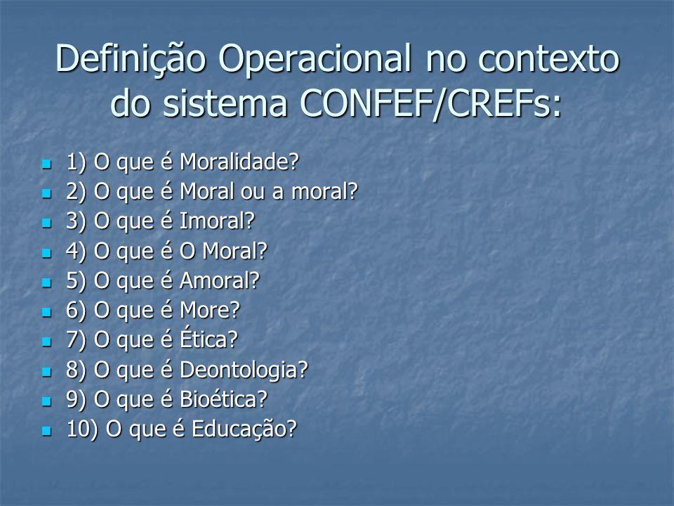 Definição Operacional no contexto do sistema CONFEF/CREFs: 1) O que é Moralidade? 1) O que é Moralidade? 2) O que é Moral ou a moral? 2) O que é Moral