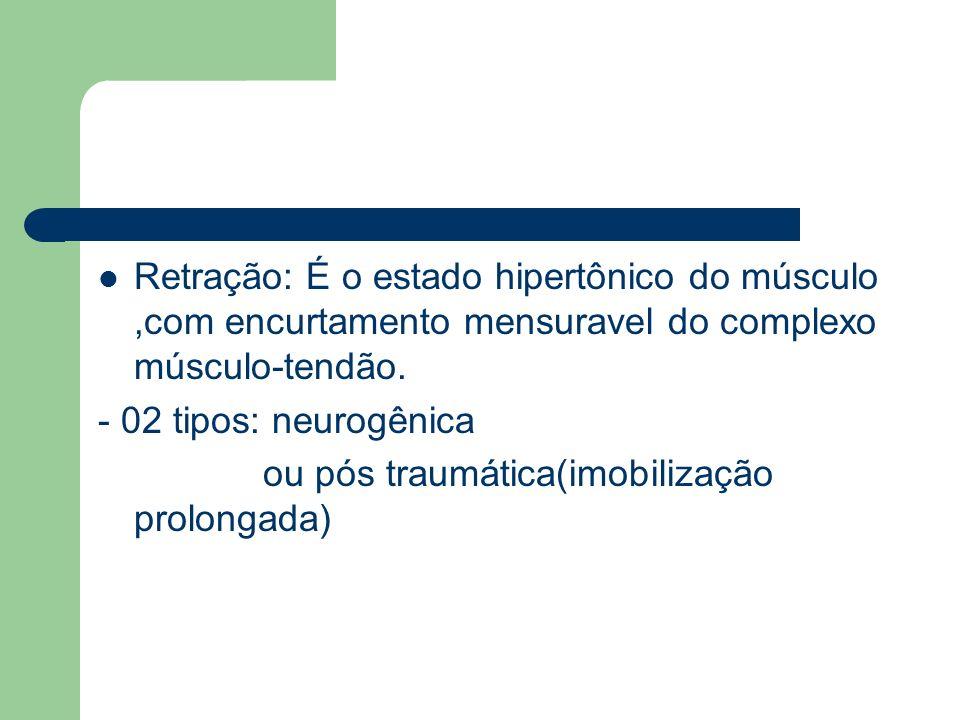 Espasmo: -Hipertonia muscular de origem neurogênica -Propiciada pelo SN ou por superutilização muscular -Pode ser Clônico ( Alternância de contração e relaxamento),ou Tônico( Continuo)