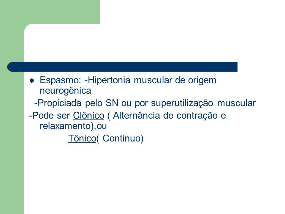 Hipertonia: Tensão anormal das arterias ou músculos -Sente-se o músculo duro na palpação Hipotonia: Perda da tonicidade dos musculos e das artérias -Sente-se o músculo muito flácido na palpação