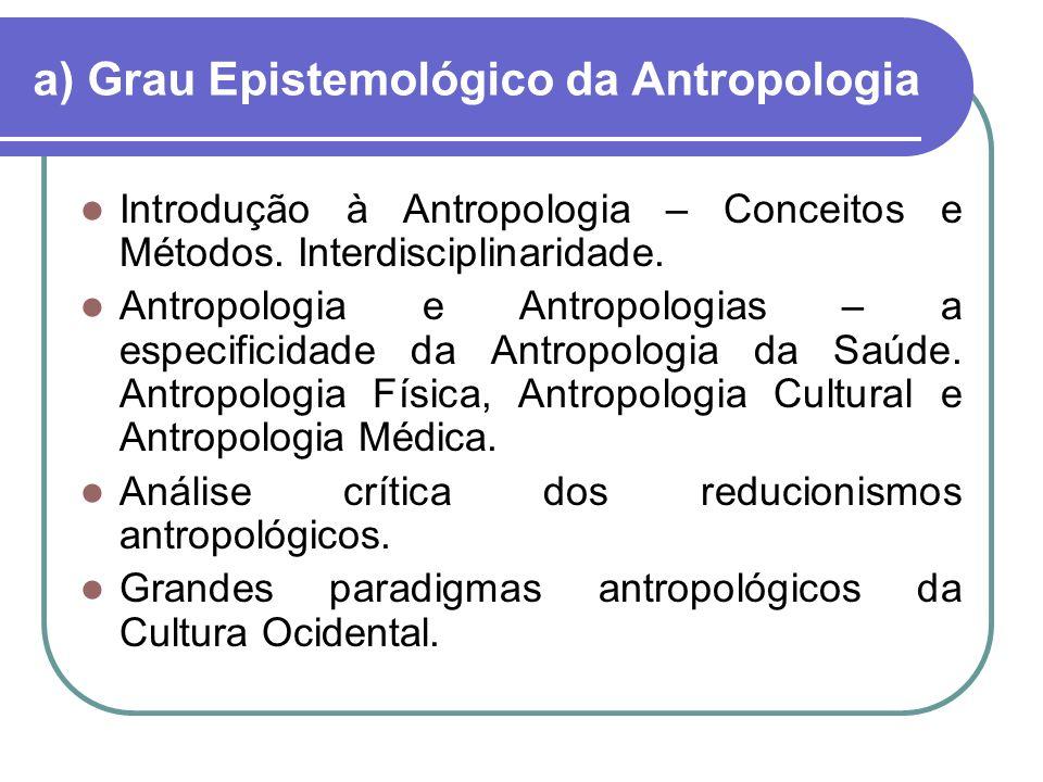 a) Grau Epistemológico da Antropologia Introdução à Antropologia – Conceitos e Métodos.