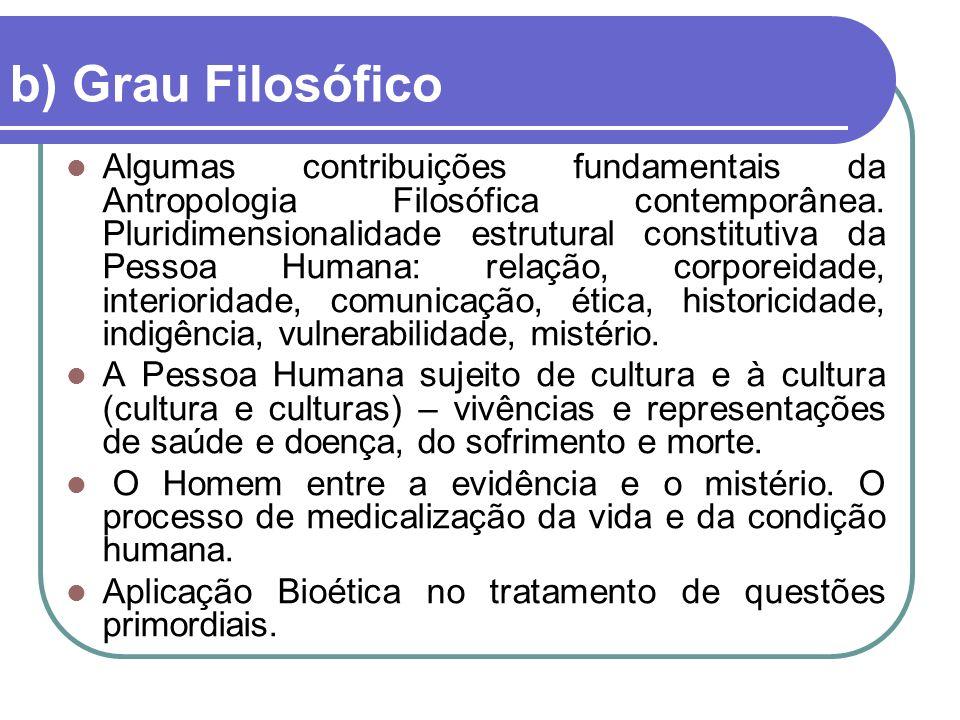 b) Grau Filosófico Algumas contribuições fundamentais da Antropologia Filosófica contemporânea.