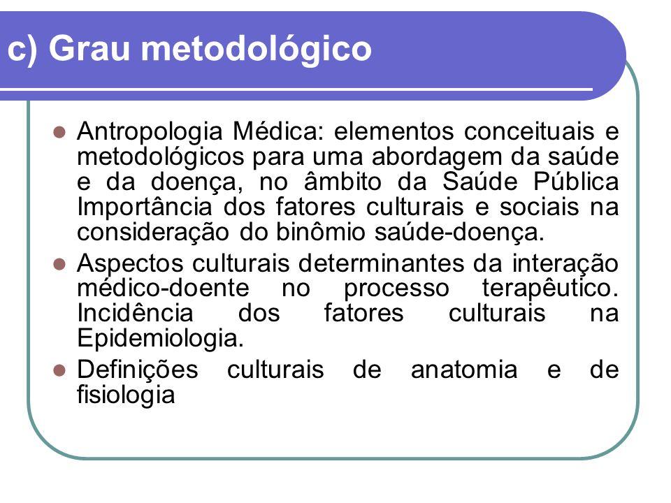 c) Grau metodológico Antropologia Médica: elementos conceituais e metodológicos para uma abordagem da saúde e da doença, no âmbito da Saúde Pública Importância dos fatores culturais e sociais na consideração do binômio saúde-doença.