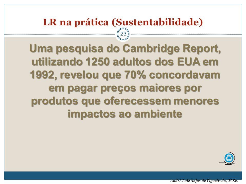 André Luiz Anjos de Figueiredo, M.Sc. LR na prática (Sustentabilidade) 23 Uma pesquisa do Cambridge Report, utilizando 1250 adultos dos EUA em 1992, r