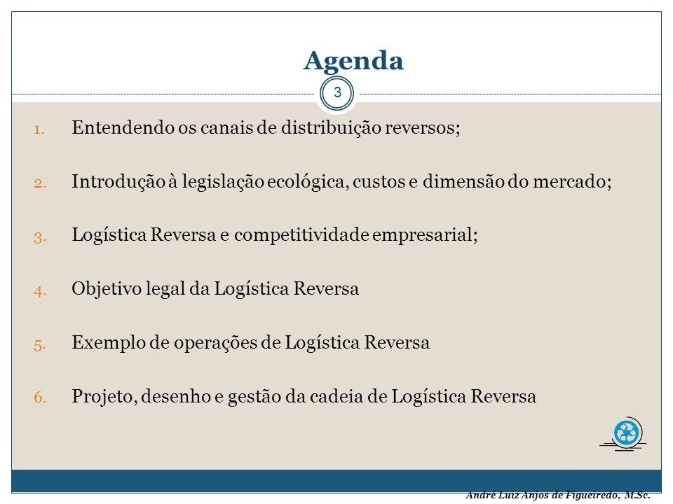 André Luiz Anjos de Figueiredo, M.Sc. Agenda 3 1. Entendendo os canais de distribuição reversos; 2. Introdução à legislação ecológica, custos e dimens
