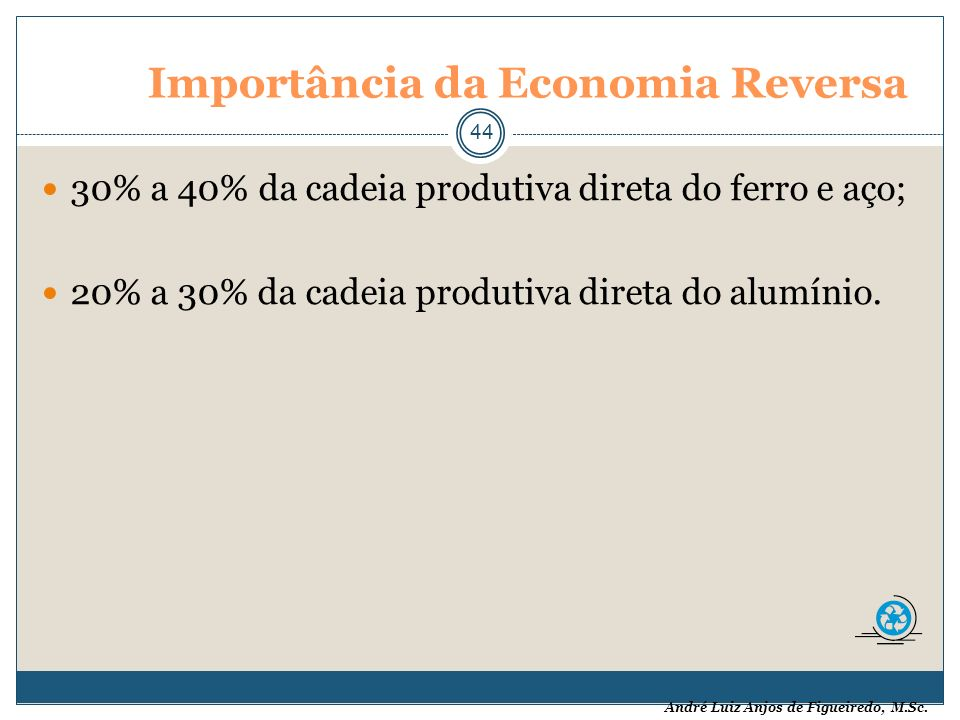 André Luiz Anjos de Figueiredo, M.Sc. Importância da Economia Reversa 44 30% a 40% da cadeia produtiva direta do ferro e aço; 20% a 30% da cadeia prod