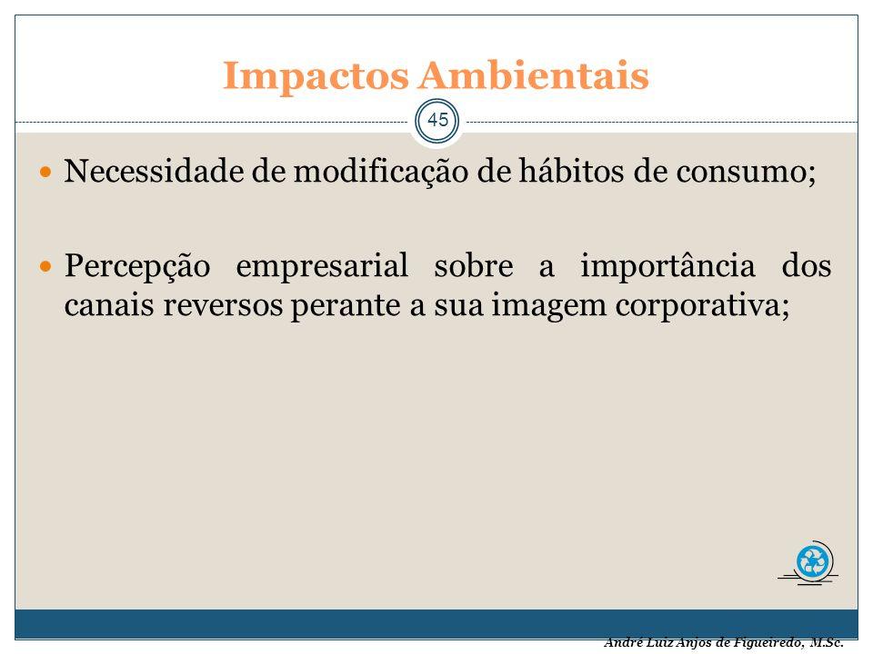 André Luiz Anjos de Figueiredo, M.Sc. Impactos Ambientais 45 Necessidade de modificação de hábitos de consumo; Percepção empresarial sobre a importânc