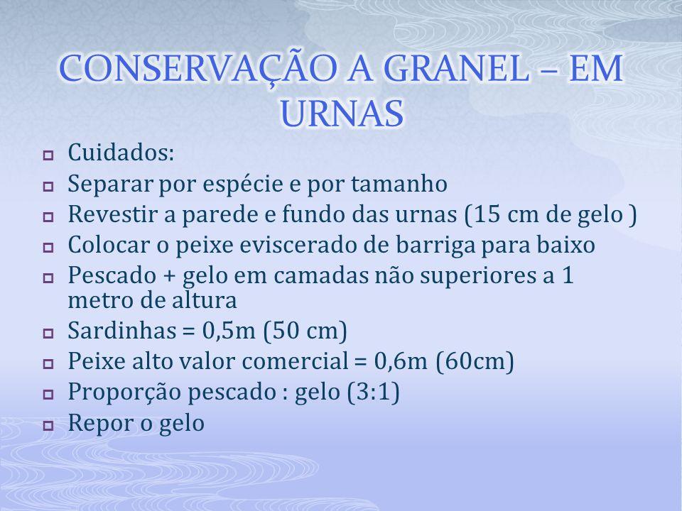 Cuidados: Separar por espécie e por tamanho Revestir a parede e fundo das urnas (15 cm de gelo ) Colocar o peixe eviscerado de barriga para baixo Pesc