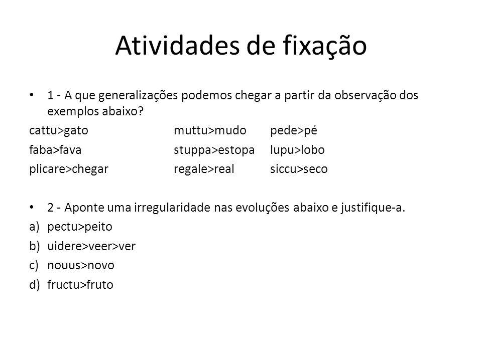 Atividades de fixação 1 - A que generalizações podemos chegar a partir da observação dos exemplos abaixo? cattu>gatomuttu>mudopede>pé faba>favastuppa>