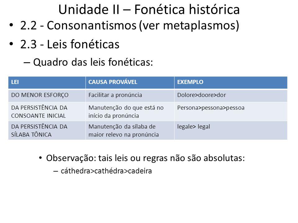 Unidade II – Fonética histórica 2.2 - Consonantismos (ver metaplasmos) 2.3 - Leis fonéticas – Quadro das leis fonéticas: Observação: tais leis ou regr