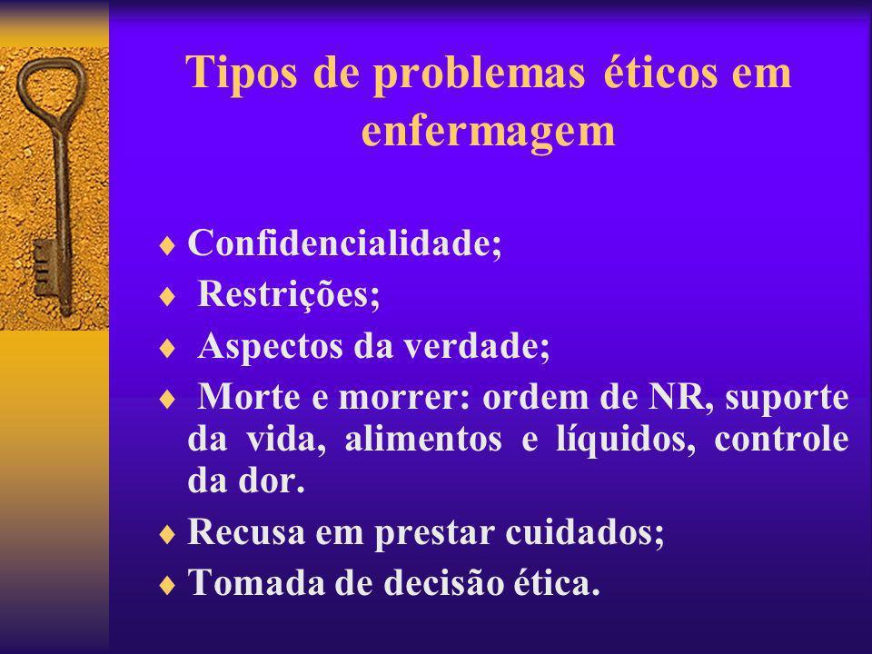 Tipos de problemas éticos em enfermagem Confidencialidade; Restrições; Aspectos da verdade; Morte e morrer: ordem de NR, suporte da vida, alimentos e