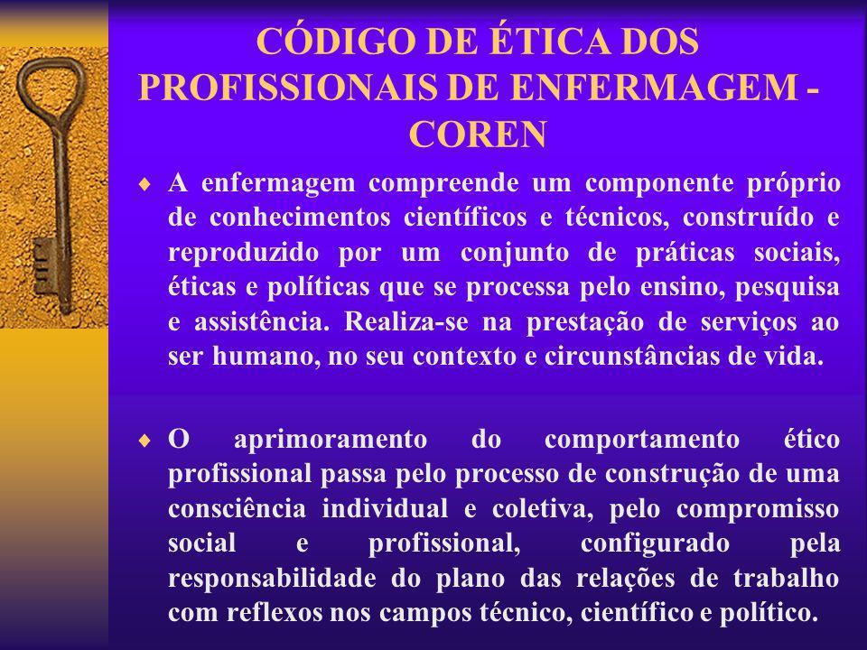 O Código de Ética Profissional reúne normas e princípios, direitos e deveres, pertinentes à conduta ética do profissional que deverá ser assumido por todos.