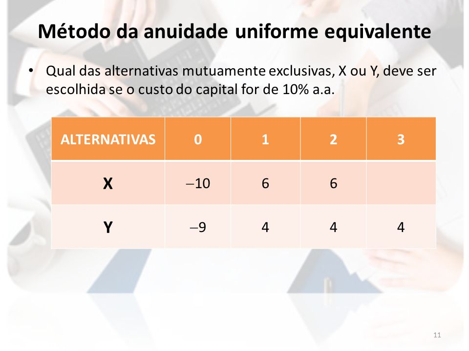 Método da anuidade uniforme equivalente Qual das alternativas mutuamente exclusivas, X ou Y, deve ser escolhida se o custo do capital for de 10% a.a.