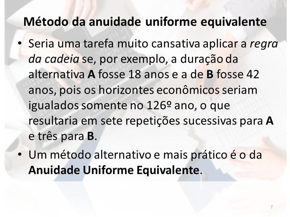 Método da anuidade uniforme equivalente Anuidade Uniforme Equivalente (AUE) é um indicador que mostra de que modo seria distribuída a renda econômica gerada pelo projeto se a referida distribuição fosse uniforme para cada ano.