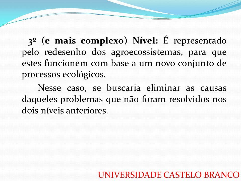 UNIVERSIDADE CASTELO BRANCO 3º (e mais complexo) Nível: É representado pelo redesenho dos agroecossistemas, para que estes funcionem com base a um nov
