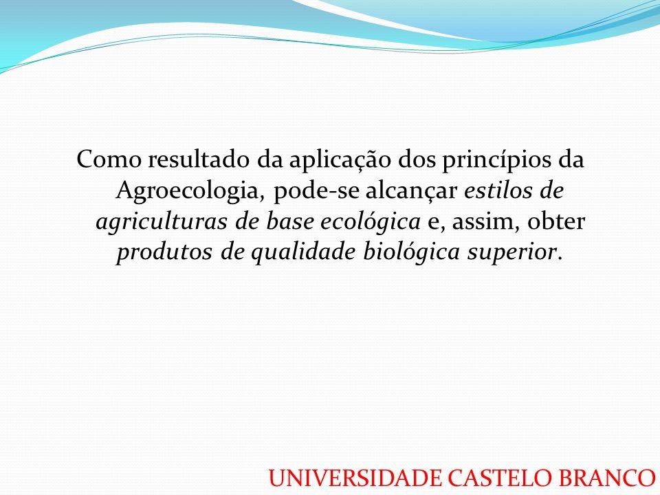 UNIVERSIDADE CASTELO BRANCO Como resultado da aplicação dos princípios da Agroecologia, pode-se alcançar estilos de agriculturas de base ecológica e,