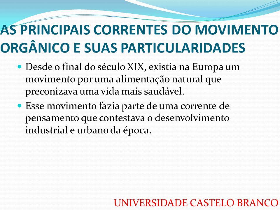 UNIVERSIDADE CASTELO BRANCO AS PRINCIPAIS CORRENTES DO MOVIMENTO ORGÂNICO E SUAS PARTICULARIDADES Desde o final do século XIX, existia na Europa um mo