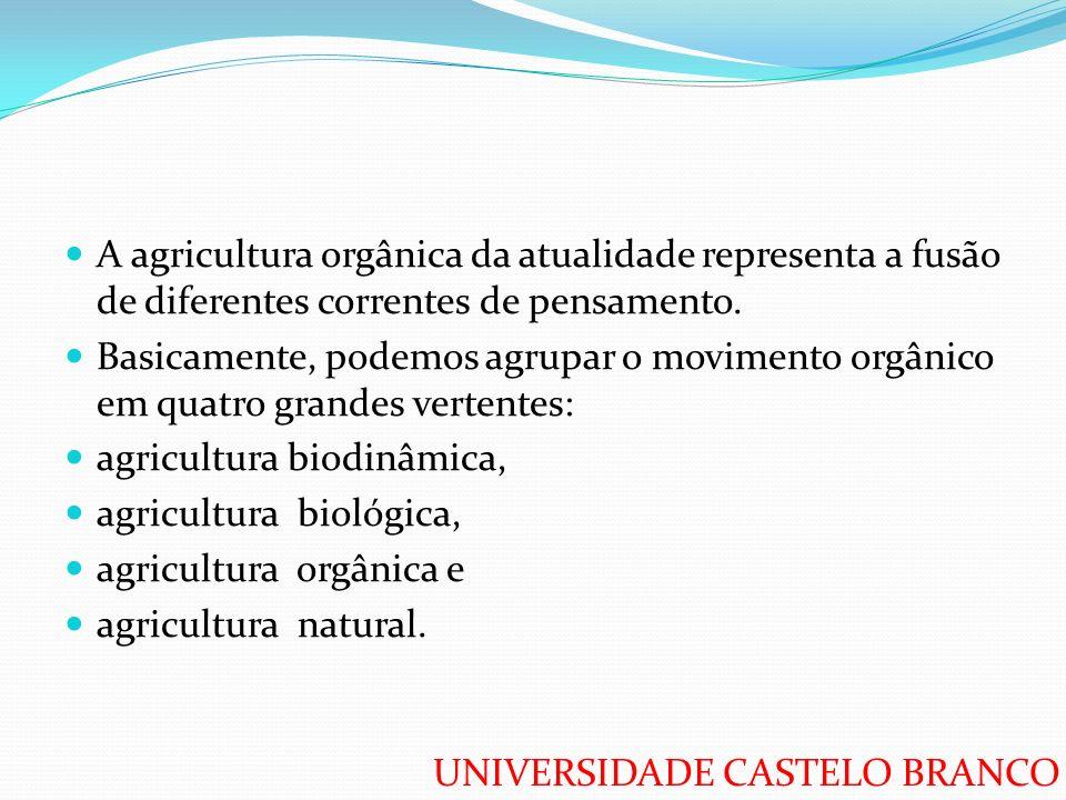 UNIVERSIDADE CASTELO BRANCO A agricultura orgânica da atualidade representa a fusão de diferentes correntes de pensamento. Basicamente, podemos agrupa