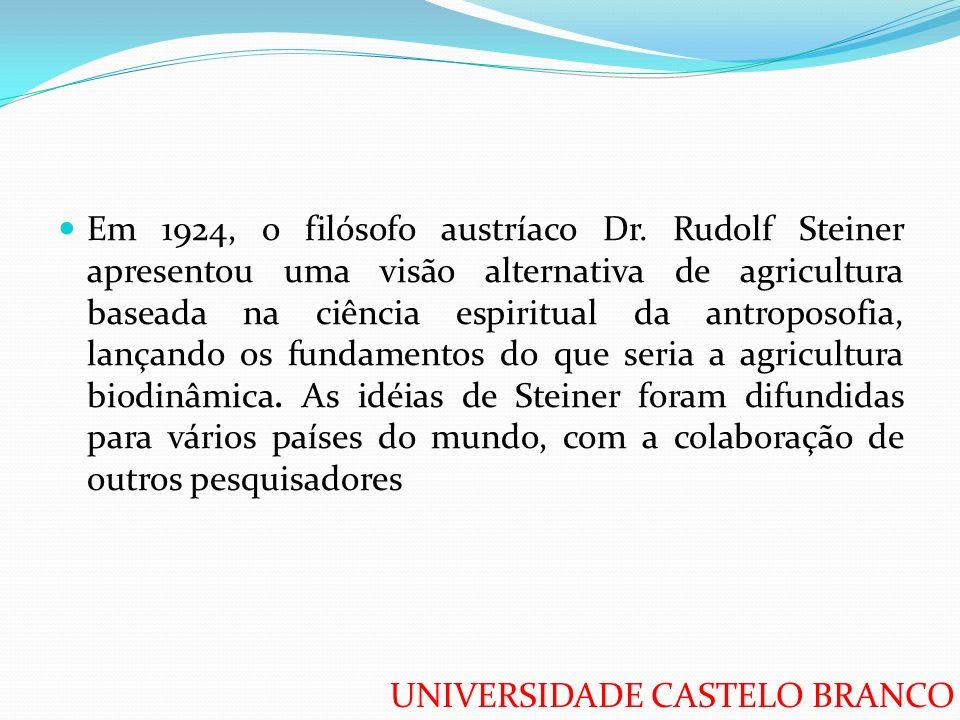 Em 1924, o filósofo austríaco Dr. Rudolf Steiner apresentou uma visão alternativa de agricultura baseada na ciência espiritual da antroposofia, lançan