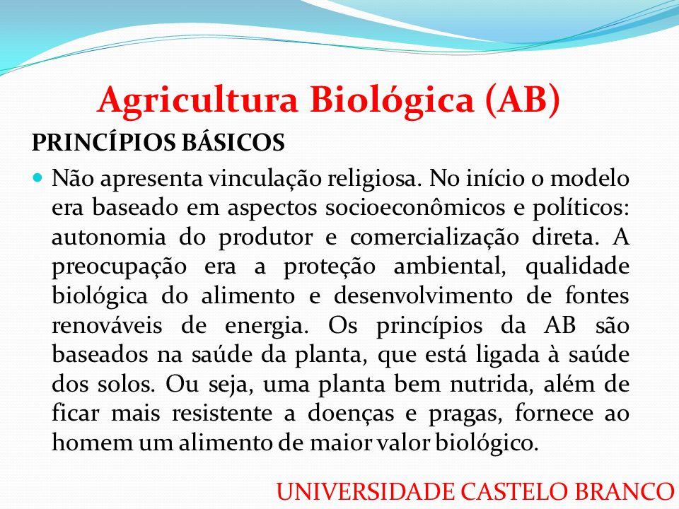 UNIVERSIDADE CASTELO BRANCO Agricultura Biológica (AB) PRINCÍPIOS BÁSICOS Não apresenta vinculação religiosa. No início o modelo era baseado em aspect