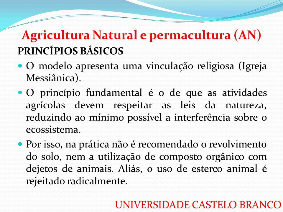 UNIVERSIDADE CASTELO BRANCO Agricultura Natural e permacultura (AN) PRINCÍPIOS BÁSICOS O modelo apresenta uma vinculação religiosa (Igreja Messiânica)