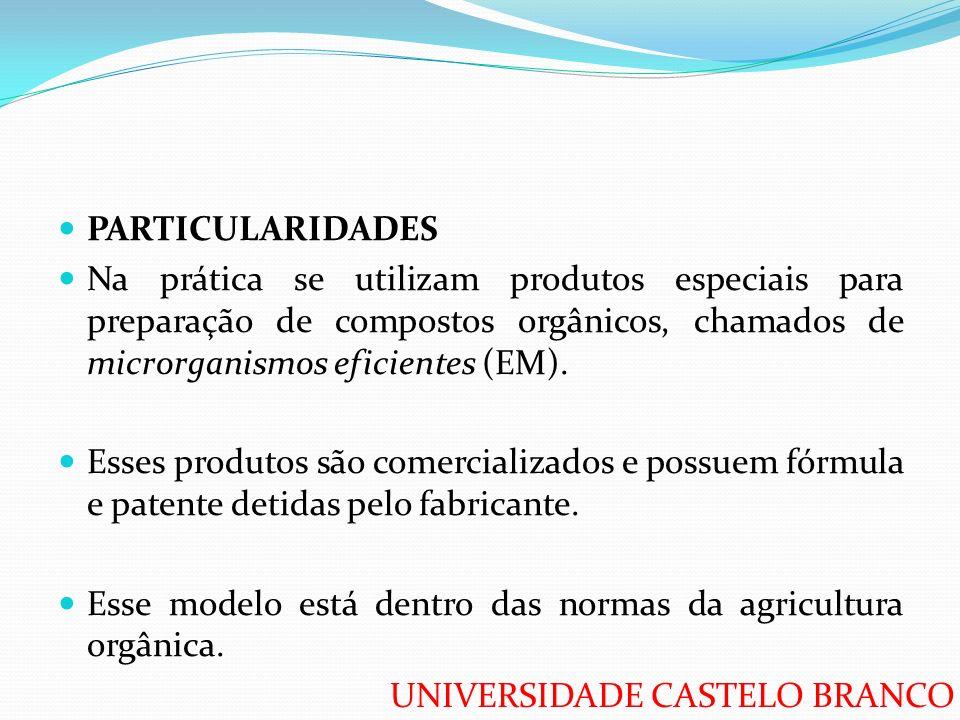UNIVERSIDADE CASTELO BRANCO PARTICULARIDADES Na prática se utilizam produtos especiais para preparação de compostos orgânicos, chamados de microrganis