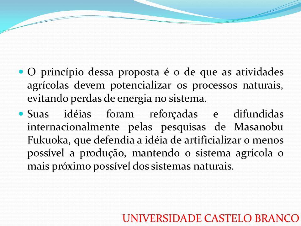UNIVERSIDADE CASTELO BRANCO O princípio dessa proposta é o de que as atividades agrícolas devem potencializar os processos naturais, evitando perdas d