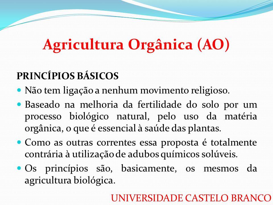 UNIVERSIDADE CASTELO BRANCO Agricultura Orgânica (AO) PRINCÍPIOS BÁSICOS Não tem ligação a nenhum movimento religioso. Baseado na melhoria da fertilid