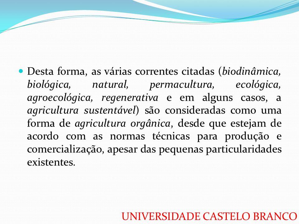 UNIVERSIDADE CASTELO BRANCO Desta forma, as várias correntes citadas (biodinâmica, biológica, natural, permacultura, ecológica, agroecológica, regener