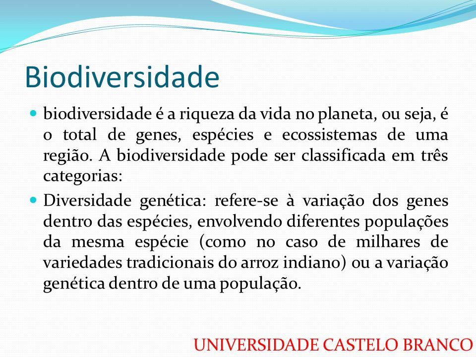 UNIVERSIDADE CASTELO BRANCO Biodiversidade biodiversidade é a riqueza da vida no planeta, ou seja, é o total de genes, espécies e ecossistemas de uma