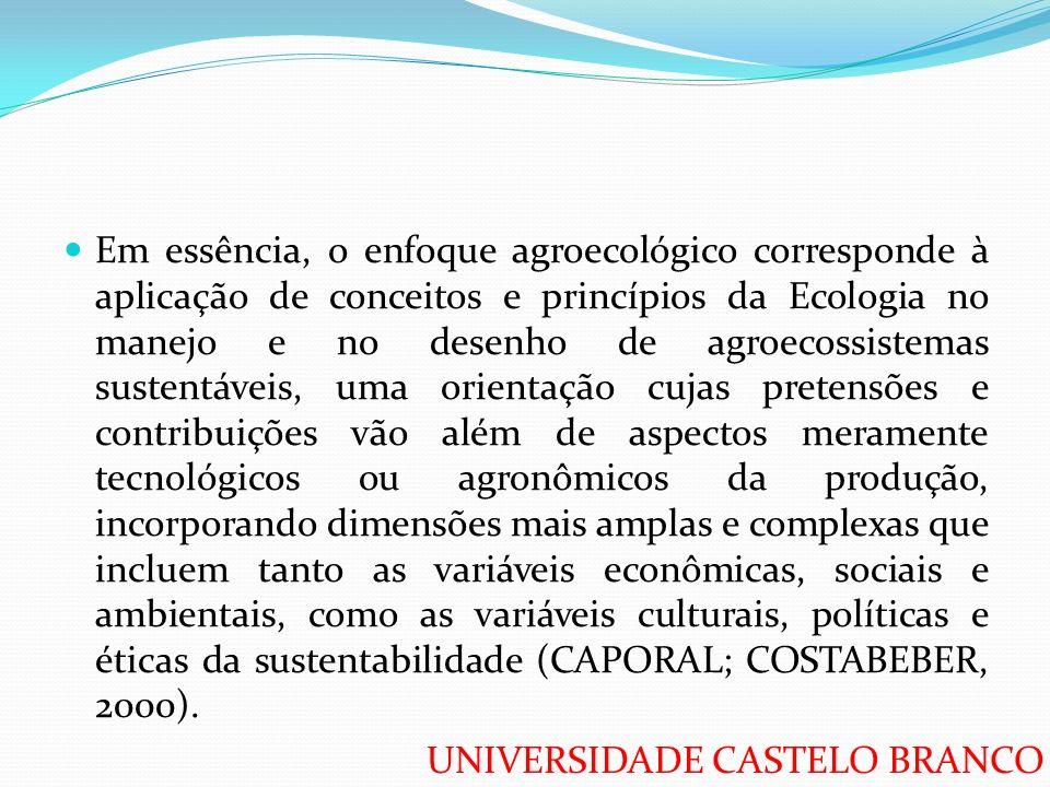 UNIVERSIDADE CASTELO BRANCO Em essência, o enfoque agroecológico corresponde à aplicação de conceitos e princípios da Ecologia no manejo e no desenho