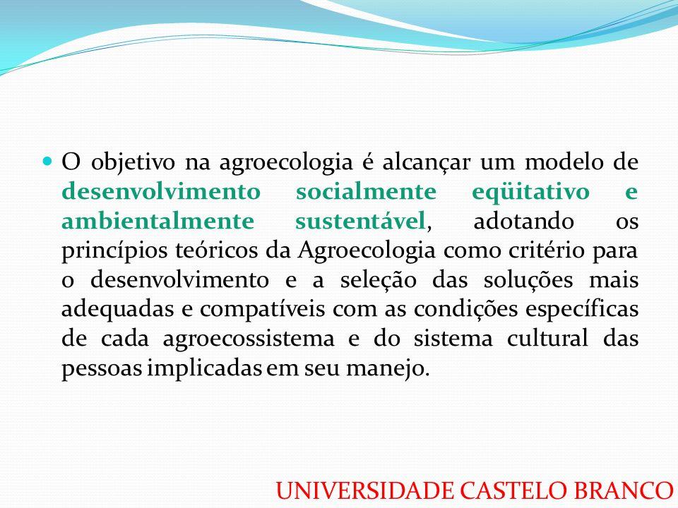UNIVERSIDADE CASTELO BRANCO O objetivo na agroecologia é alcançar um modelo de desenvolvimento socialmente eqüitativo e ambientalmente sustentável, ad