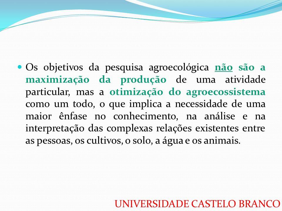 UNIVERSIDADE CASTELO BRANCO Os objetivos da pesquisa agroecológica não são a maximização da produção de uma atividade particular, mas a otimização do