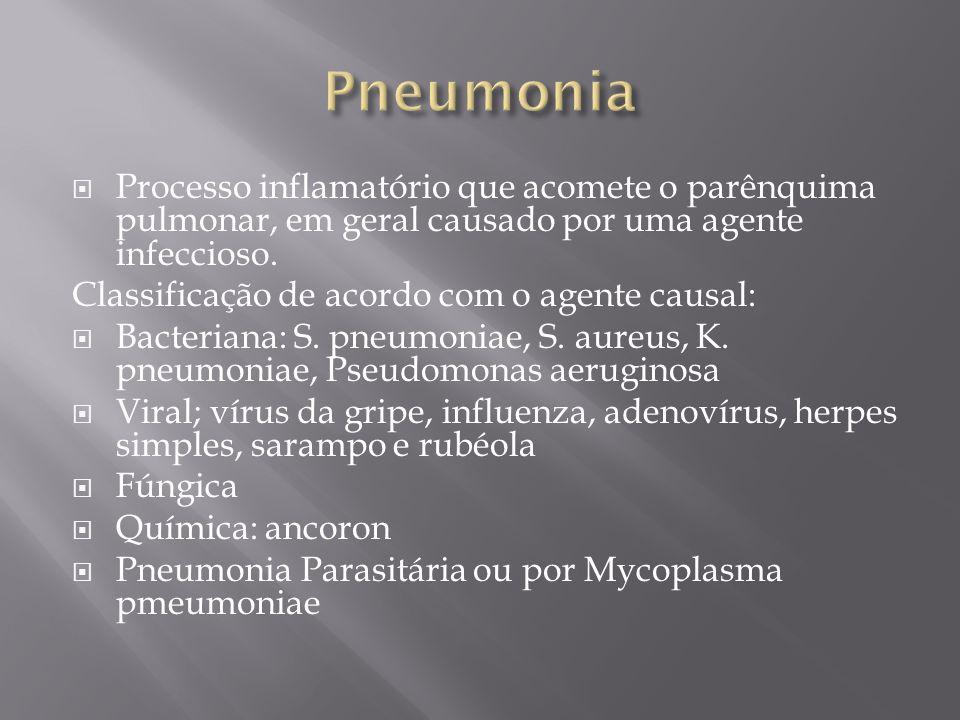 Processo inflamatório que acomete o parênquima pulmonar, em geral causado por uma agente infeccioso. Classificação de acordo com o agente causal: Bact