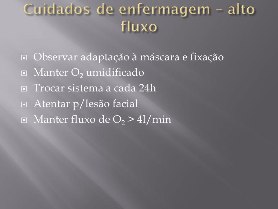 Observar adaptação à máscara e fixação Manter O 2 umidificado Trocar sistema a cada 24h Atentar p/lesão facial Manter fluxo de O 2 > 4l/min
