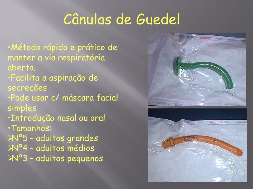 Cânulas de Guedel Método rápido e prático de manter a via respiratória aberta. Facilita a aspiração de secreções Pode usar c/ máscara facial simples I
