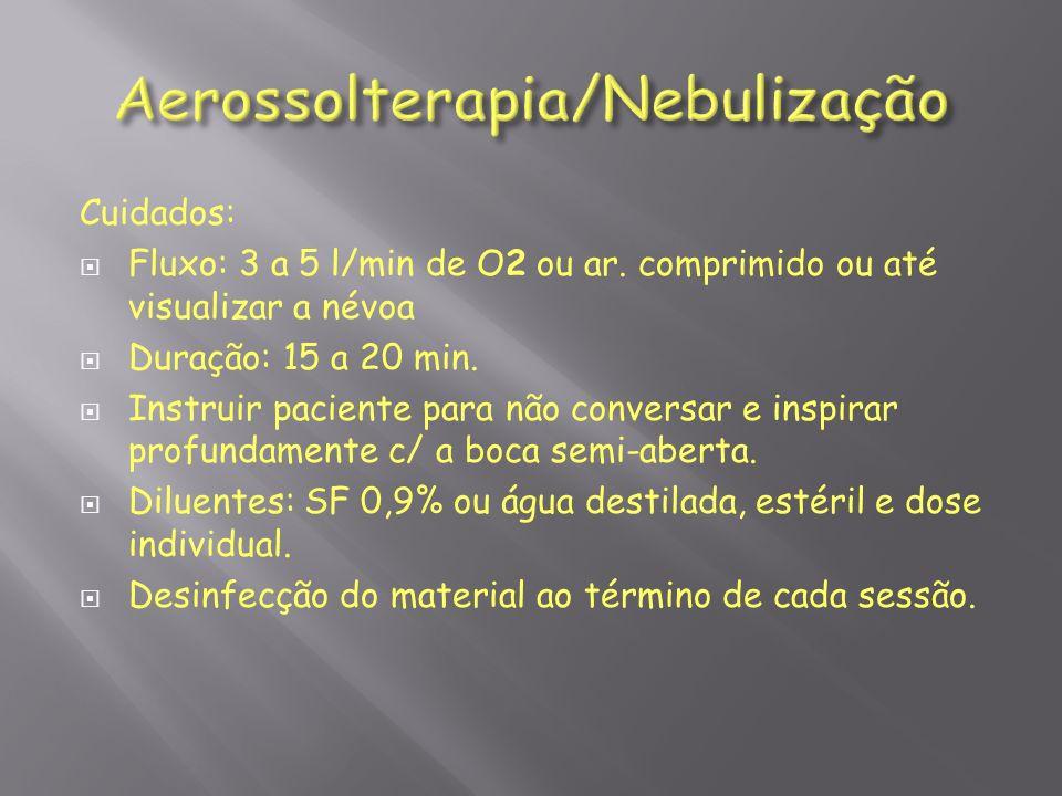 Cuidados: Fluxo: 3 a 5 l/min de O2 ou ar. comprimido ou até visualizar a névoa Duração: 15 a 20 min. Instruir paciente para não conversar e inspirar p