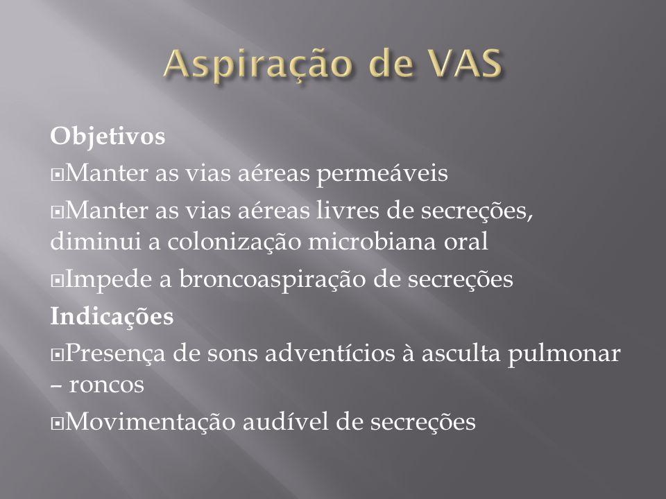 Objetivos Manter as vias aéreas permeáveis Manter as vias aéreas livres de secreções, diminui a colonização microbiana oral Impede a broncoaspiração d