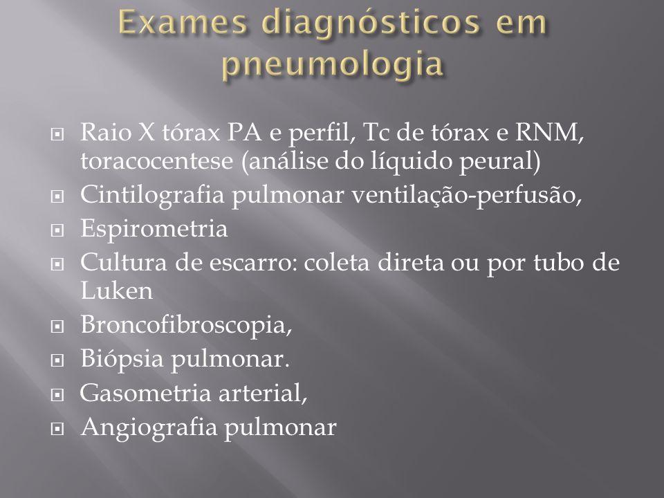 Raio X tórax PA e perfil, Tc de tórax e RNM, toracocentese (análise do líquido peural) Cintilografia pulmonar ventilação-perfusão, Espirometria Cultur