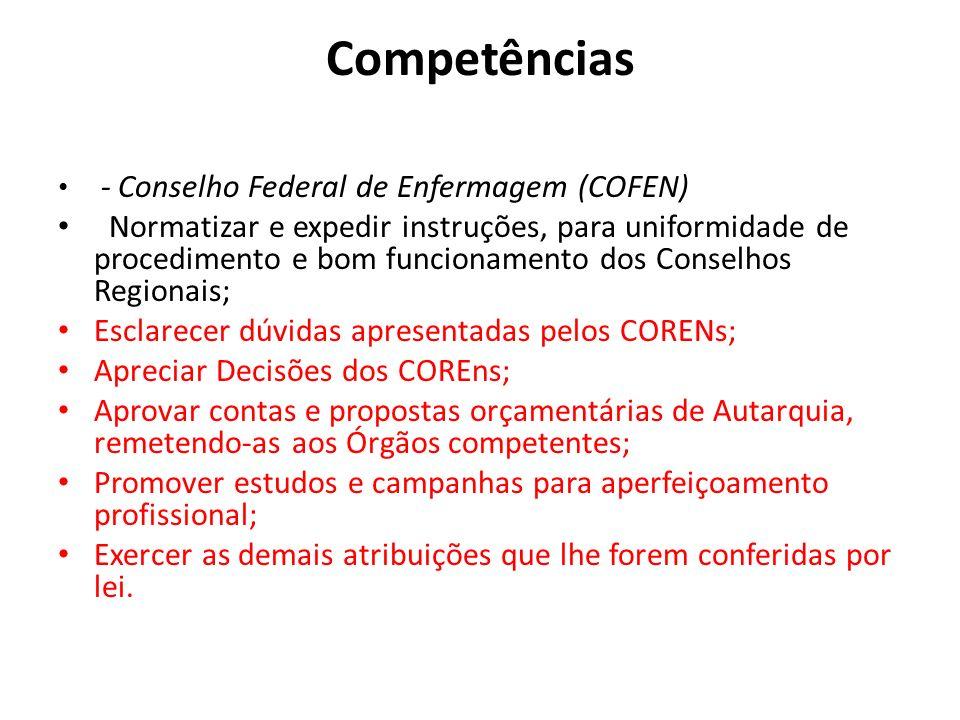 Competências - Conselho Federal de Enfermagem (COFEN) Normatizar e expedir instruções, para uniformidade de procedimento e bom funcionamento dos Conse