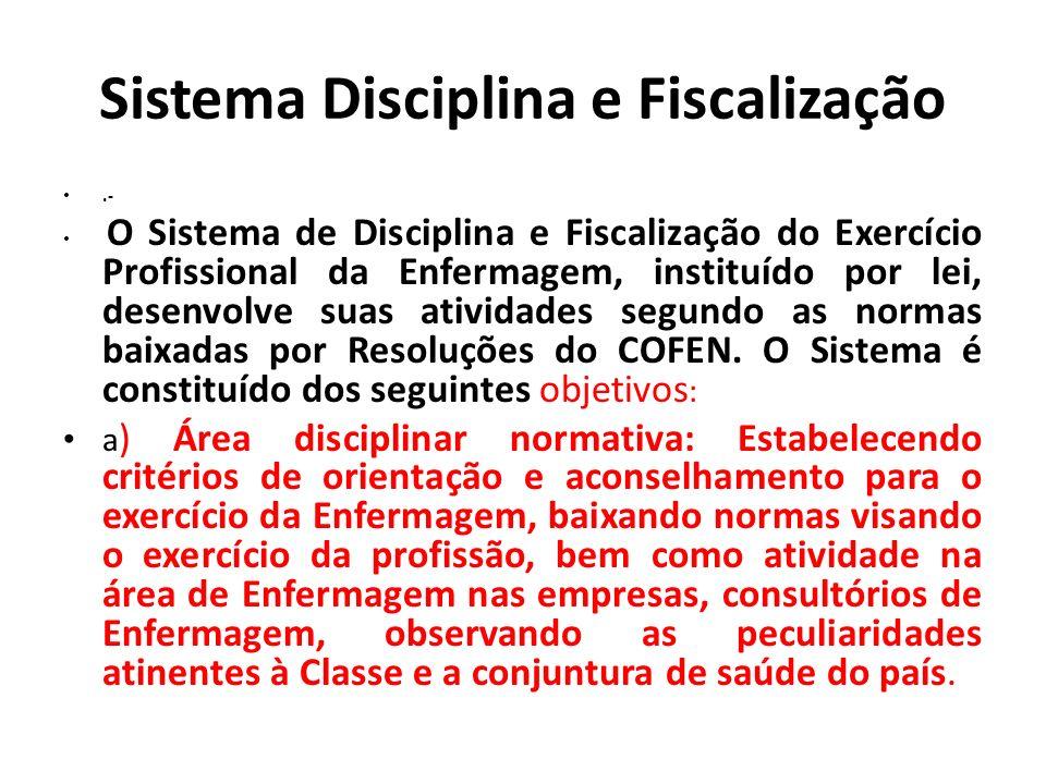 Sistema Disciplina e Fiscalização.- O Sistema de Disciplina e Fiscalização do Exercício Profissional da Enfermagem, instituído por lei, desenvolve sua
